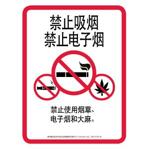 No Smoking No Vaping / Sign - Chinese