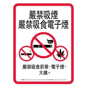 No Smoking No Vaping sign Chinese Traditional