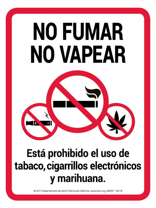 No Smoking No Vaping / Sign- Spanish