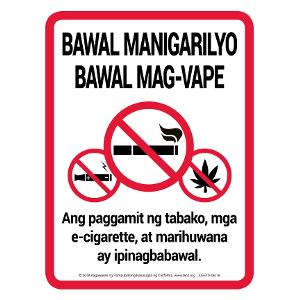 No Smoking No Vaping sign Tagalog
