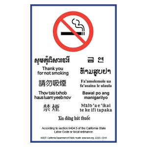 Multilingual Asian/Pacific Islander No Smoking Sign