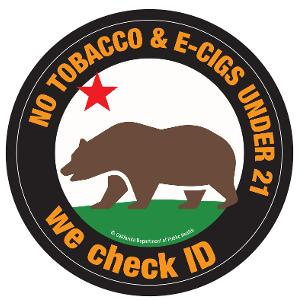 No Tobacco or E-Cigs Under 21 Window Cling