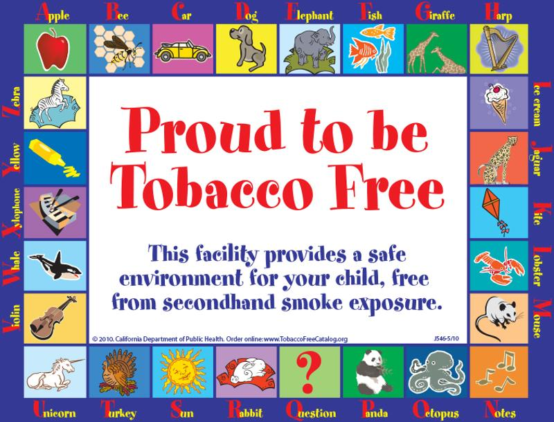 proud to be tobacco free sign sign tobacco education
