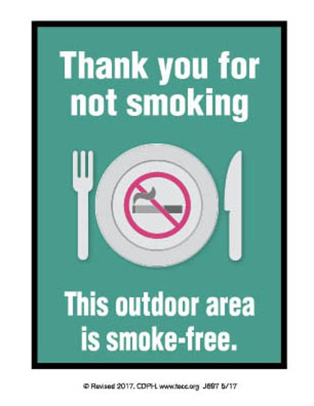 Smoke-free Outdoor Dining - Table Tent