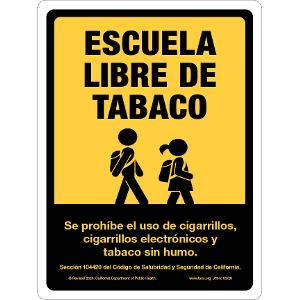 Tobacco-Free School (Spanish) - with California Civil Code