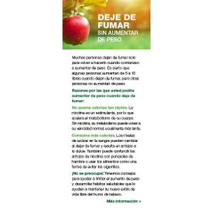 Quit Smoking Without Gaining Weight fact card - Spanish