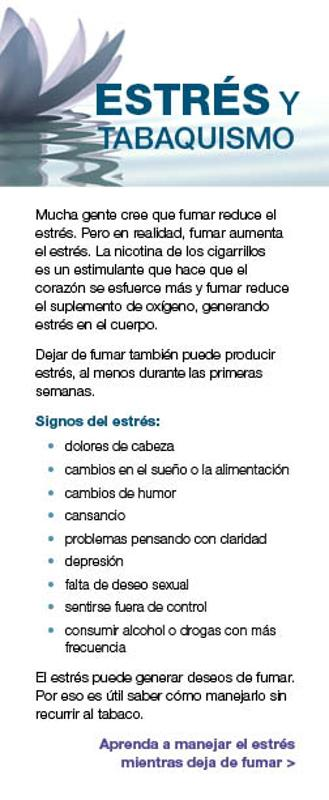 Stress and Smoking fact card - Spanish