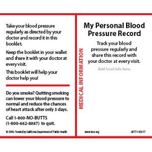 My Personal Blood Pressure Record - Wallet card English