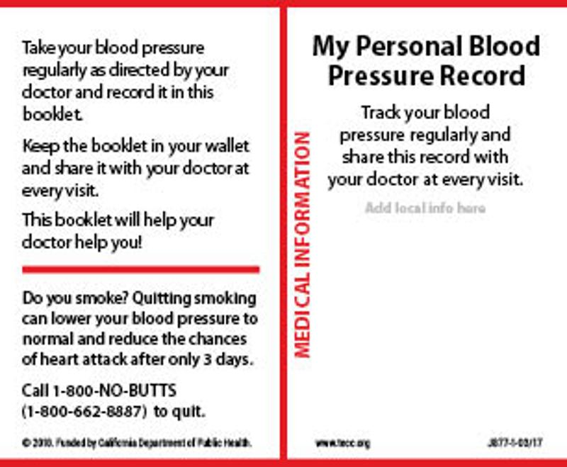 picture relating to Printable Blood Pressure Log Wallet Size titled My Individual Blood Anxiety History - Wallet card English