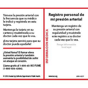 My Personal Blood Pressure Record- Wallet card Spanish