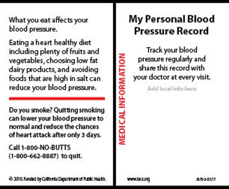 My Personal Blood Pressure Record- Wallet card English