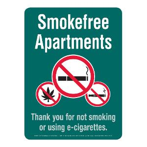 Smoke-free Apartments Sign (with marijuana)