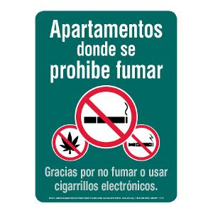 Smoke-free Apartments Sign (with marijuana) - Spanish