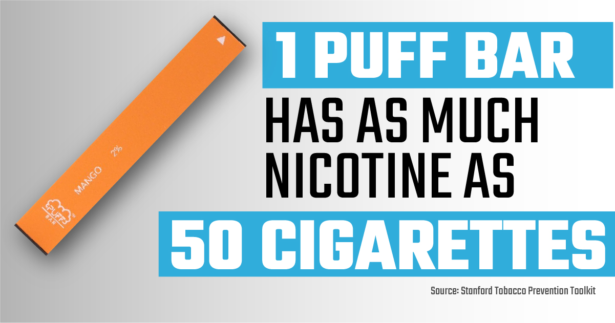 1 Puff Bar has as much nicotine as 50 cigarettes