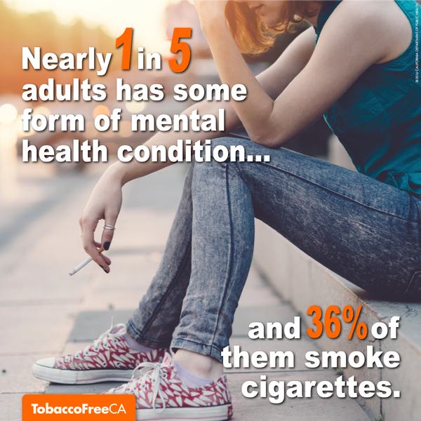 Nearly 1 in 5 adults has some form of mental health condition... and 36% of them smoke cigarettes.