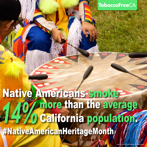 Native Americans smoke 14% more than the average California population.