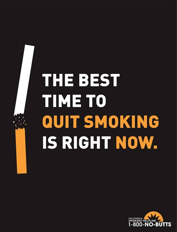 The best time to quit smoking is right now.